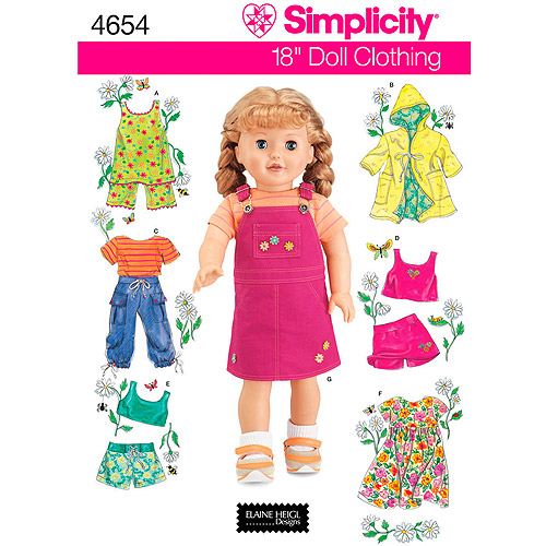 "Simplicity Pattern 18"" Doll Clothes, One Size"