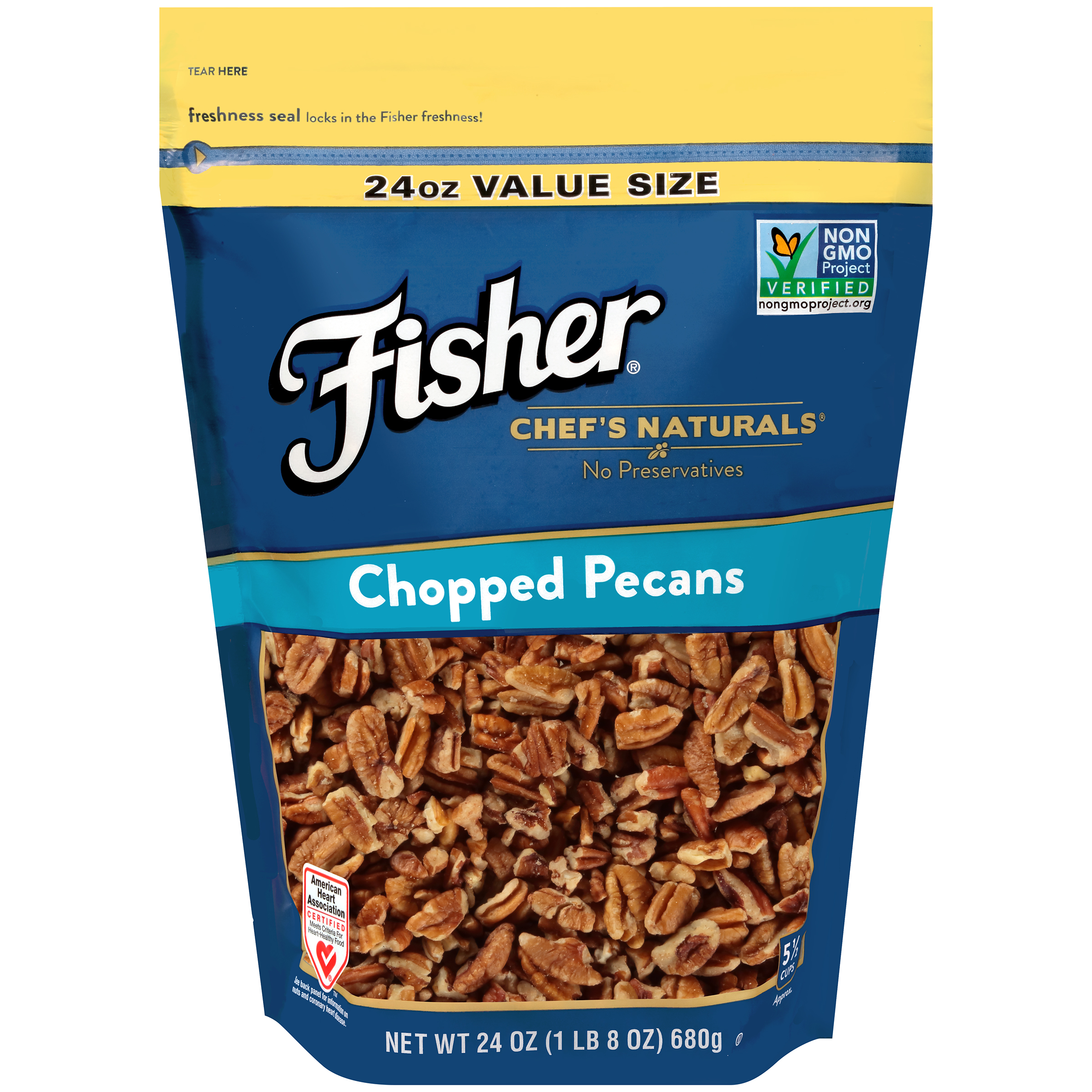 (2 Pack) Fisher Chef's Naturals Chopped Pecans, Non-GMO, 24 oz