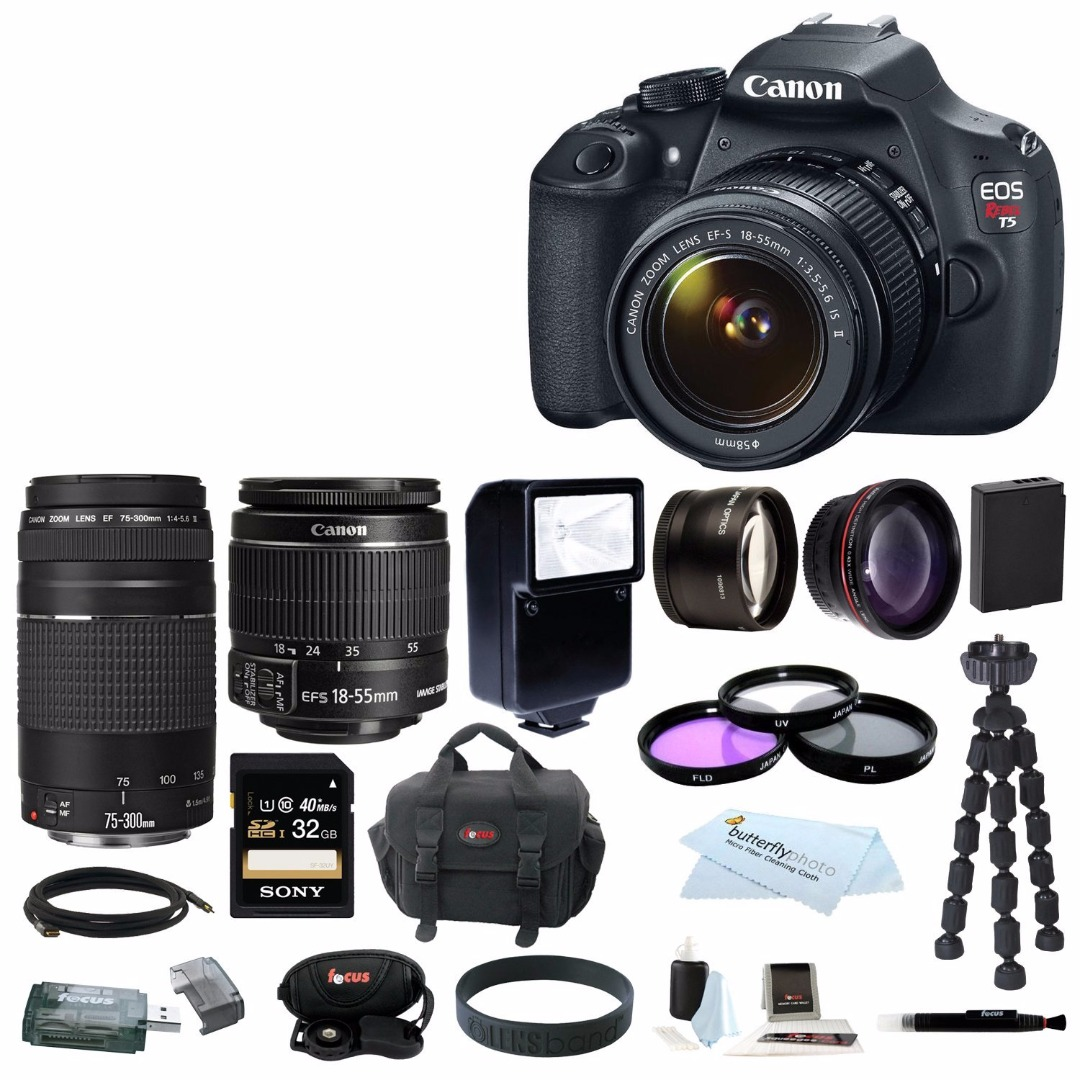 Canon EOS Rebel T5 DSLR Camera with EF-S 18-55mm IS II & 75-300mm Zoom Lens 32GB Bundle