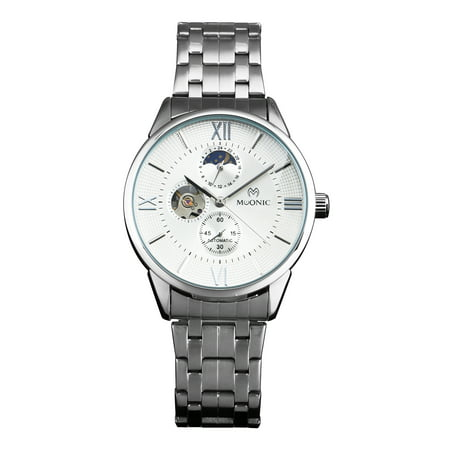 Self-winding Mechanical Mens Wrist Watch Silver White Dial Stainless Steel Case