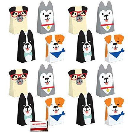 Puppy Dog 16 Pack Party Paper Loot Treat Candy Favor Bags Attachments (Plus Party Planning Checklist Mikes Super Store) (Puppy Dog Party Supplies)