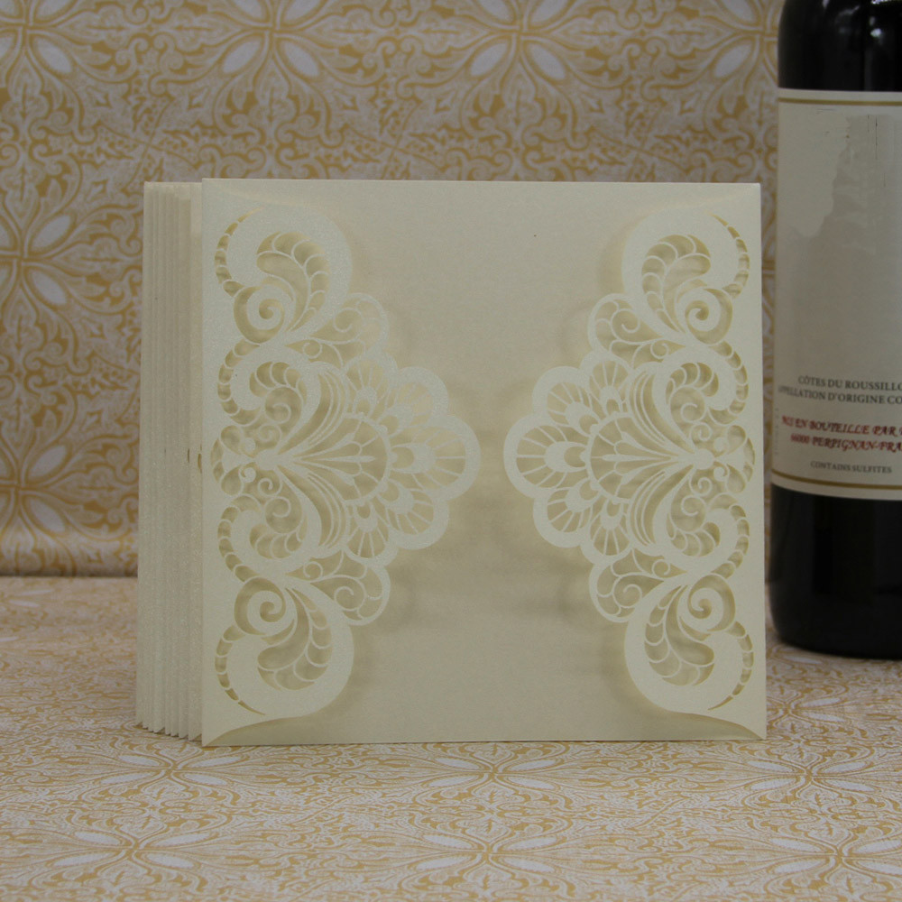20 Pcs Delicate Carved Romantic Wedding Party Invitation Card Envelope