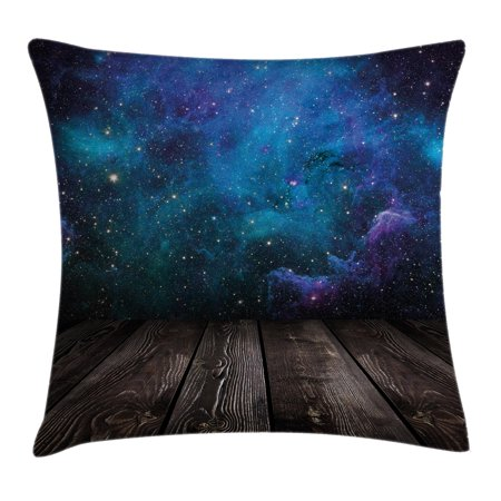 Galaxy Throw Pillow Cushion Cover, Outer Space View from Rustic Wooden Deck Blue Nebula Star Magical Night, Decorative Square Accent Pillow Case, 24 X 24 Inches, Black Blue Brown Purple,