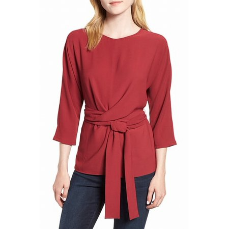 Womens Large Tie Front Stretch Crepe Blouse L