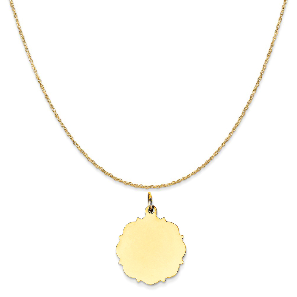 """14k Yellow Gold Plain .013 Gauge Engravable Disc Charm on 14K Yellow Gold Rope Chain Necklace, 20"""""""