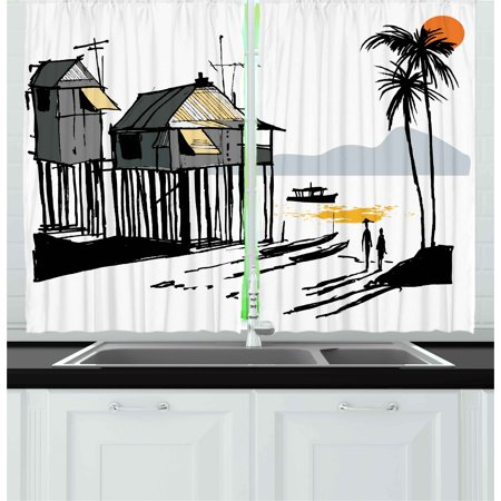 Coastal Curtains 2 Panels Set, Sketchy Fishing Village Malay in Singapore with Houses Canoe Palms Sun Print, Window Drapes for Living Room Bedroom, 55W X 39L Inches, Black Grey Orange, by Ambesonne ()
