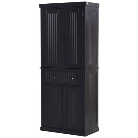 "HOMCOM 72"" H Traditional Colonial Freestanding Kitchen Pantry Cupboard Cabinet, Black"