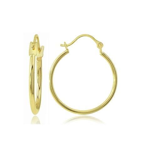 - 14K Gold 1.3mm Round Hoop Earrings, 15mm