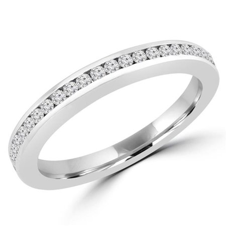 Majesty Diamonds MD170423-3.75 0.33 CTW Round Diamond Semi-Eternity Wedding Band Ring in 14K White Gold - Size 3.75 - image 1 de 1