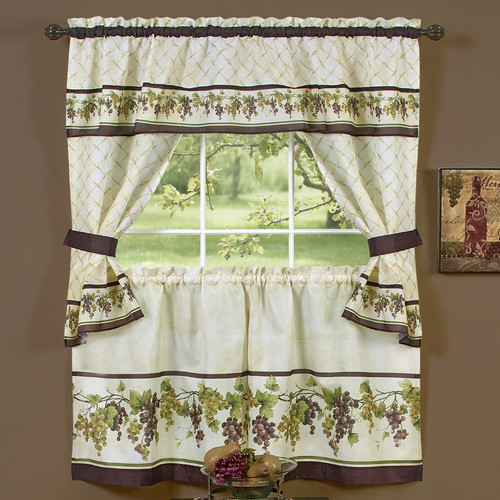 Sweet Home Collection Tuscany Kitchen Cottage Window Treatment Set
