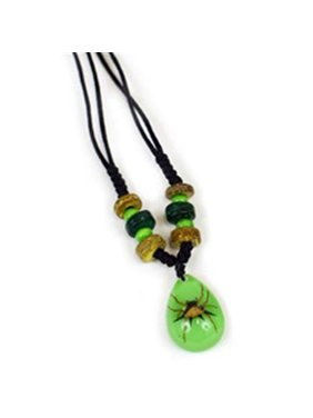 NEK103 Beaded Necklace - Spiny Spide with Green Background