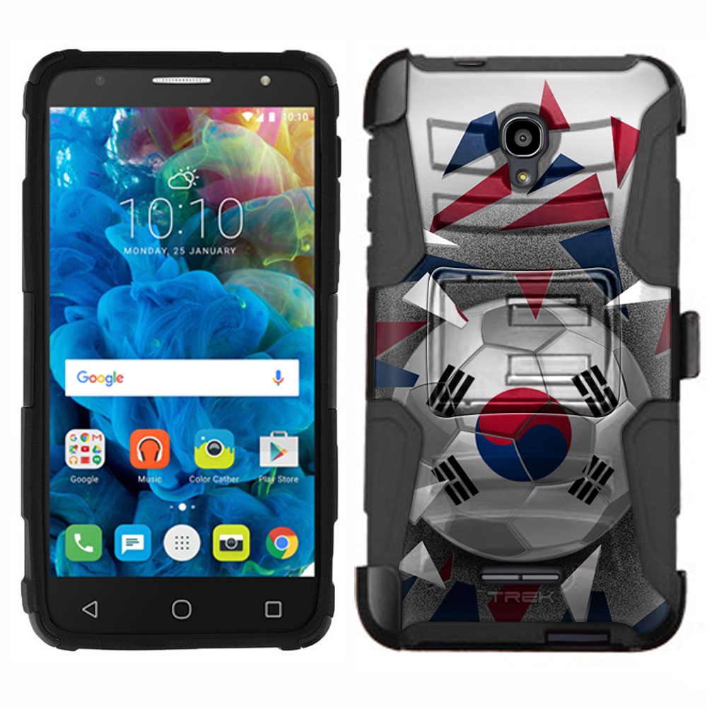 Alcatel POP 4 Armor Hybrid Case Soccer Ball Korea Flag by Trek Media Group