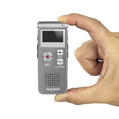 Anybest® Digital Mini Portable rechargeable Audio Voice 8GB Voice Recorder Dictaphone With MP3 Player and USB Connection Support MP3, WMA, MP1, MP2 Format, WAV Format Recording (8GB, Silver)