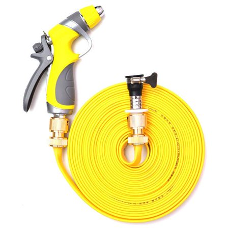 Vetroo 50FT Lay-Flat Water Hose TPE Discharge Garden (Copper Alloy) with Heavy Duty Nozzle Sprayer - Yellow