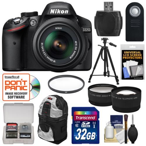 Nikon D3200 Digital SLR Camera & 18-55mm VR DX AF-S Zoom Lens (Black) -Factory Refurbished with 32GB Card + Backpack + Tripod + Filter + Tele/Wide Lens Kit