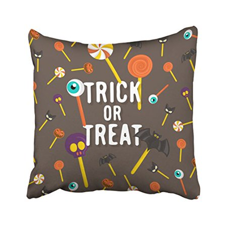 WinHome Halloween Trick Or Treat Lollipop Cats Bats Eyes Pumpkins Skulls Decorative Pillow Cover With Hidden Zipper Decor Cushion Two Sides 18x18 inches - Cat Eyes Window Halloween
