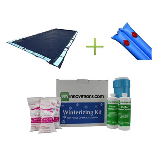 20x40' Dark Blue Rectangular Inground Pool Cover + Water Tubes + Winterizing Kit