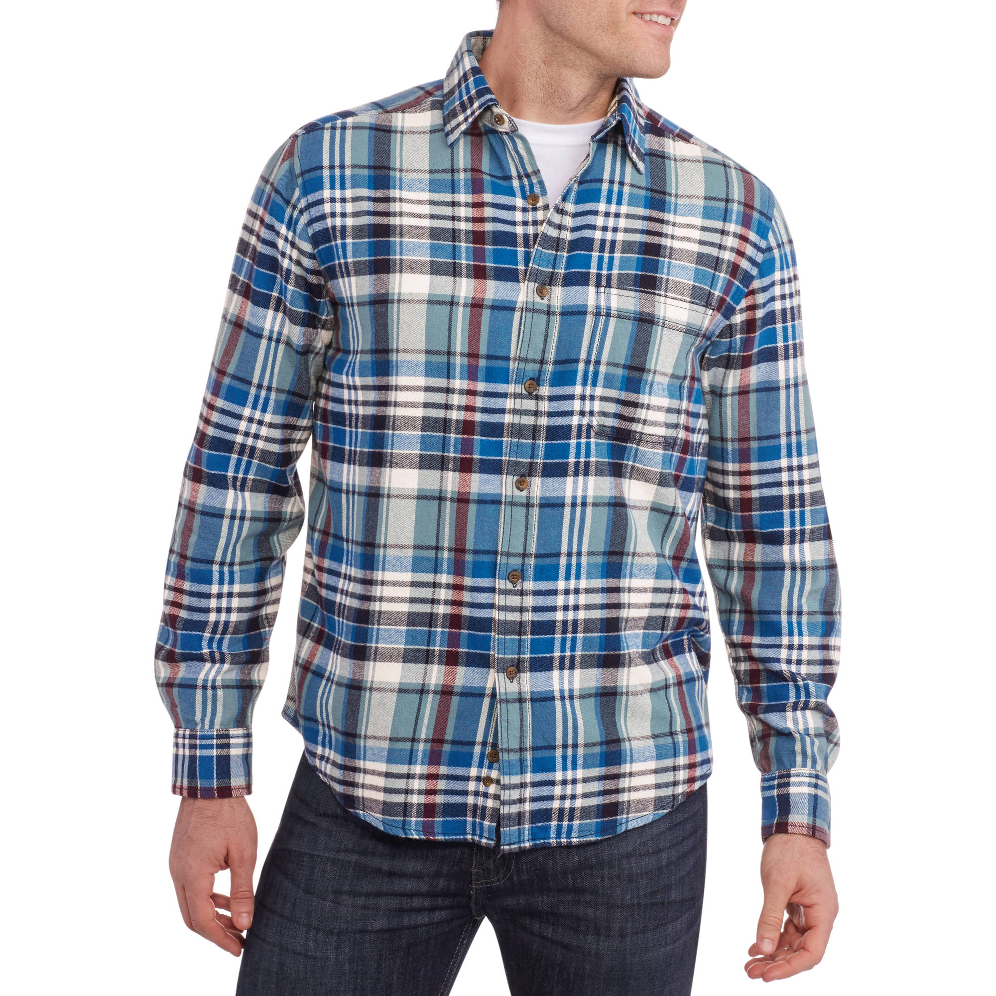 Athletic works big men 39 s long sleeve practice tee for Mens 4xlt flannel shirts