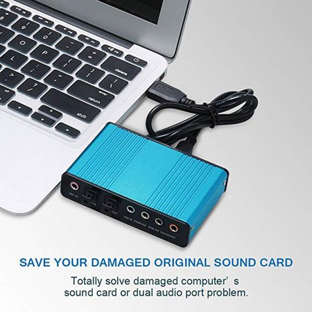 6 Channel External Sound Card 5.1/7.1 Optical S/PDIF Audio Sound Card Adapter - image 6 of 8