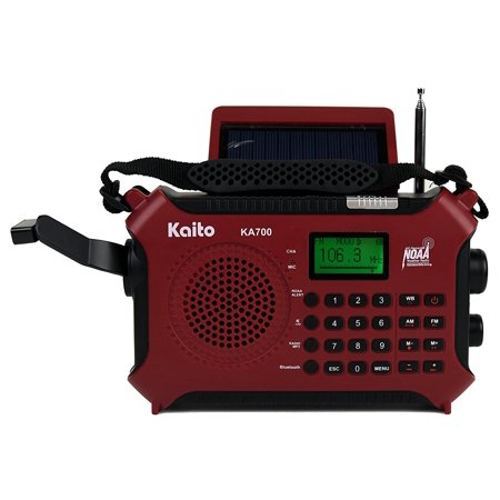 Kaito Ka700 Am Fm Noaa Weather Radio With Build In Recorder Bluetooth Solar And Crank   Red