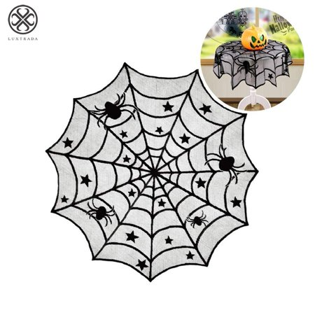 Luxtrada Halloween Decorations Indoor, Black Lace Party Decor, Spider Web Fireplace Scarf Cover, Spiderweb Table Topper Tablecloth (Best Place To Order Halloween Contacts)