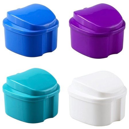 Orafix Premium Denture Bath cleaning container with Strainer Assorted color (3 packs) ()