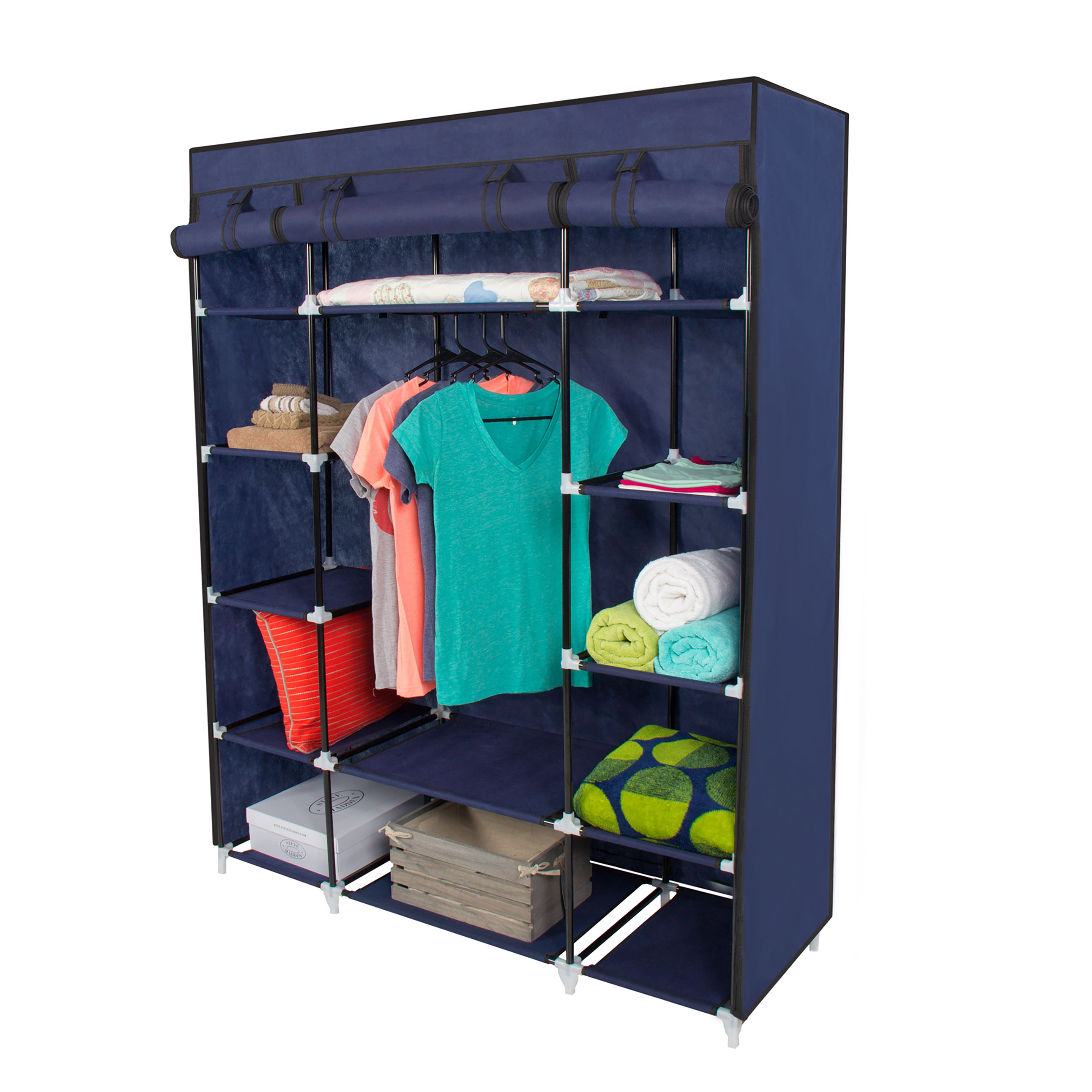 53u201d Portable Closet Storage Organizer Wardrobe Clothes Rack With Shelves  Blue