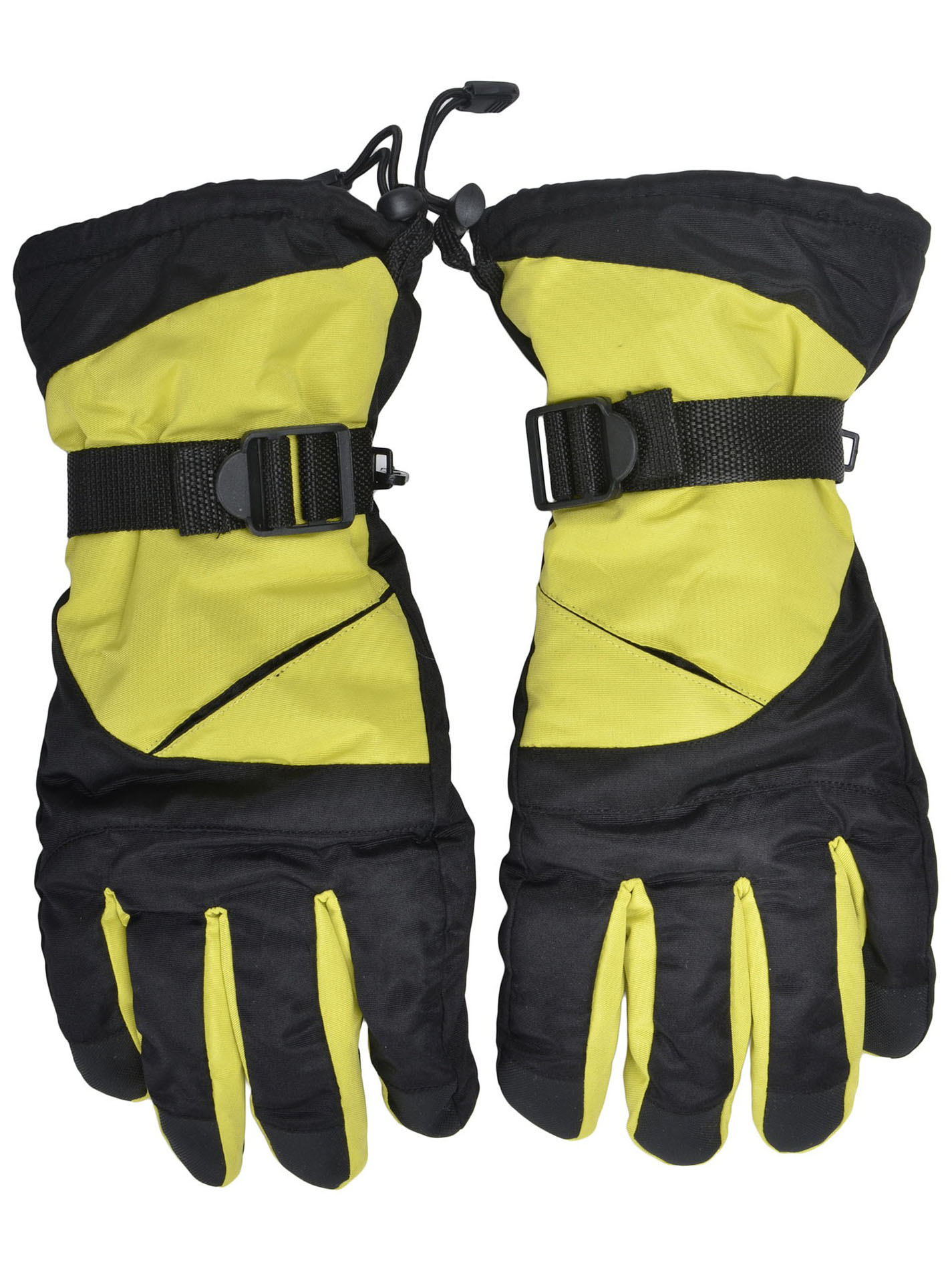Men's Winter Adjustable Wrist Straps Waterproof Ski Gloves, Red Black2 by