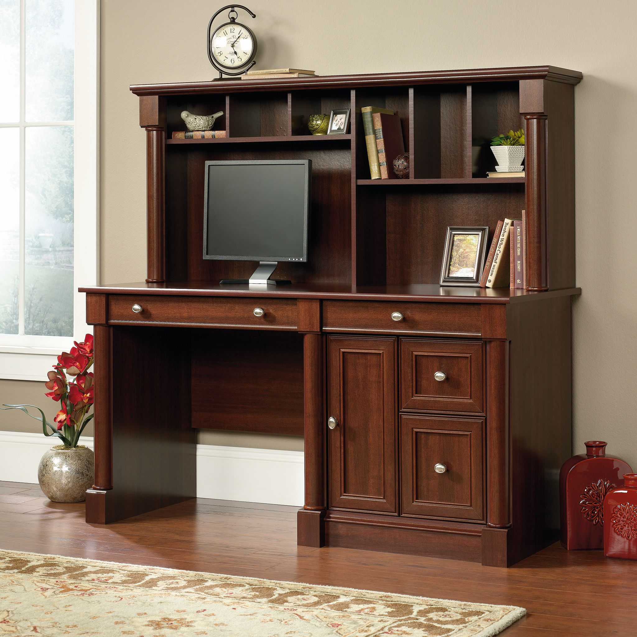 Sauder Palladia Computer Desk with Hutch, Select Cherry Finish