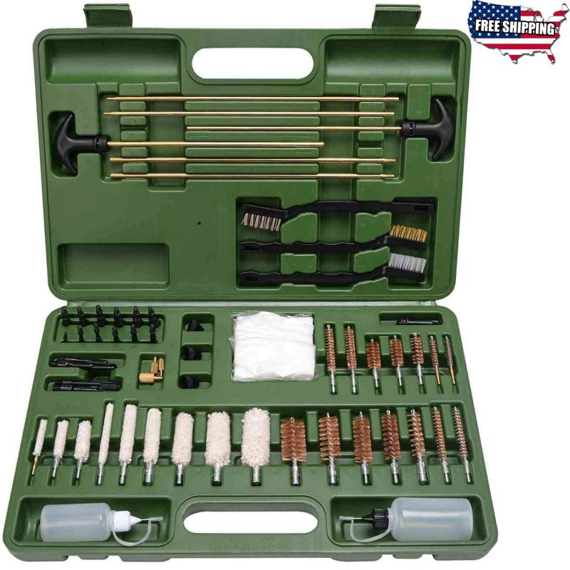 160PCS Gun Cleaning Kit Universal Firearm Brass Rods Bronze Brushes Rifle Pistol