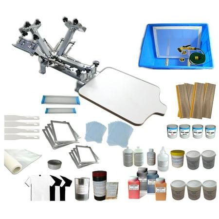 e6e5577b TechTongda Screen Printing Machine 1 Station 4 Color Screen Printing Kit  for T-shirt DIY Screen Printing Press #006912 - Walmart.com