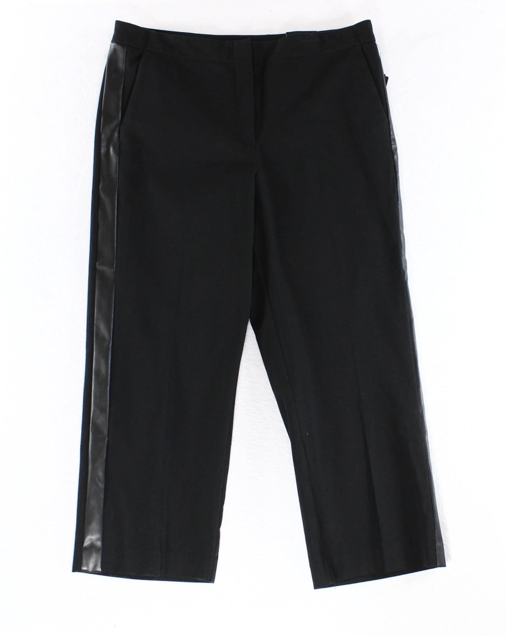 Alfani NEW Black Women's Size 8 Faux-Leather Stripe Dress Pants