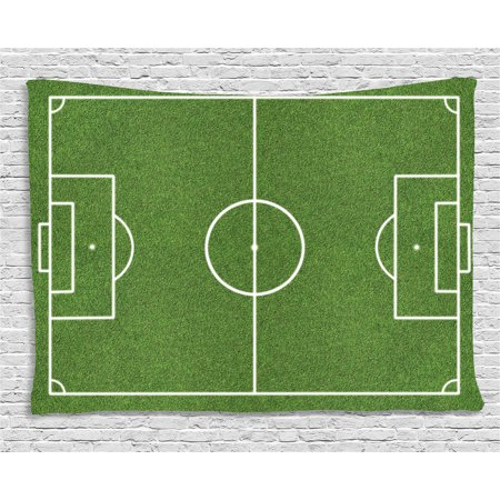 Teen Room Decor Tapestry, Soccer Field Grass Motif Stadium Game Match Winner Sports Area Print, Wall Hanging for Bedroom Living Room Dorm Decor, 80W X 60L Inches, Fern Green White, by Ambesonne - Soccer Room Decor