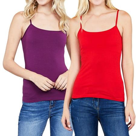 Women's Cami Built-in Shelf Bra Adjstable Strap Camisole Tank Top (Junior Sizes)