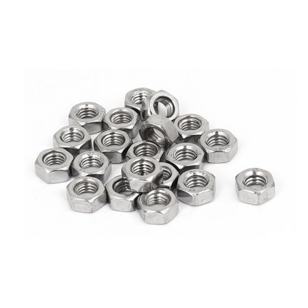 304 Stainless Steel Finished Metric Hex Nut Silver Tone M6 20pcs - image 3 of 3