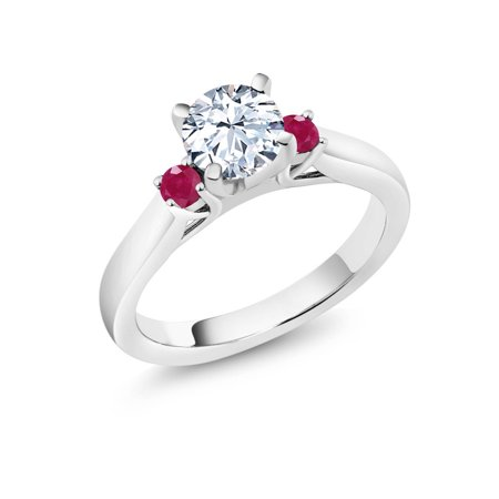 1.48 Ct White Created Sapphire Red Ruby 925 Sterling Silver 3-Stone Ring - image 3 de 3
