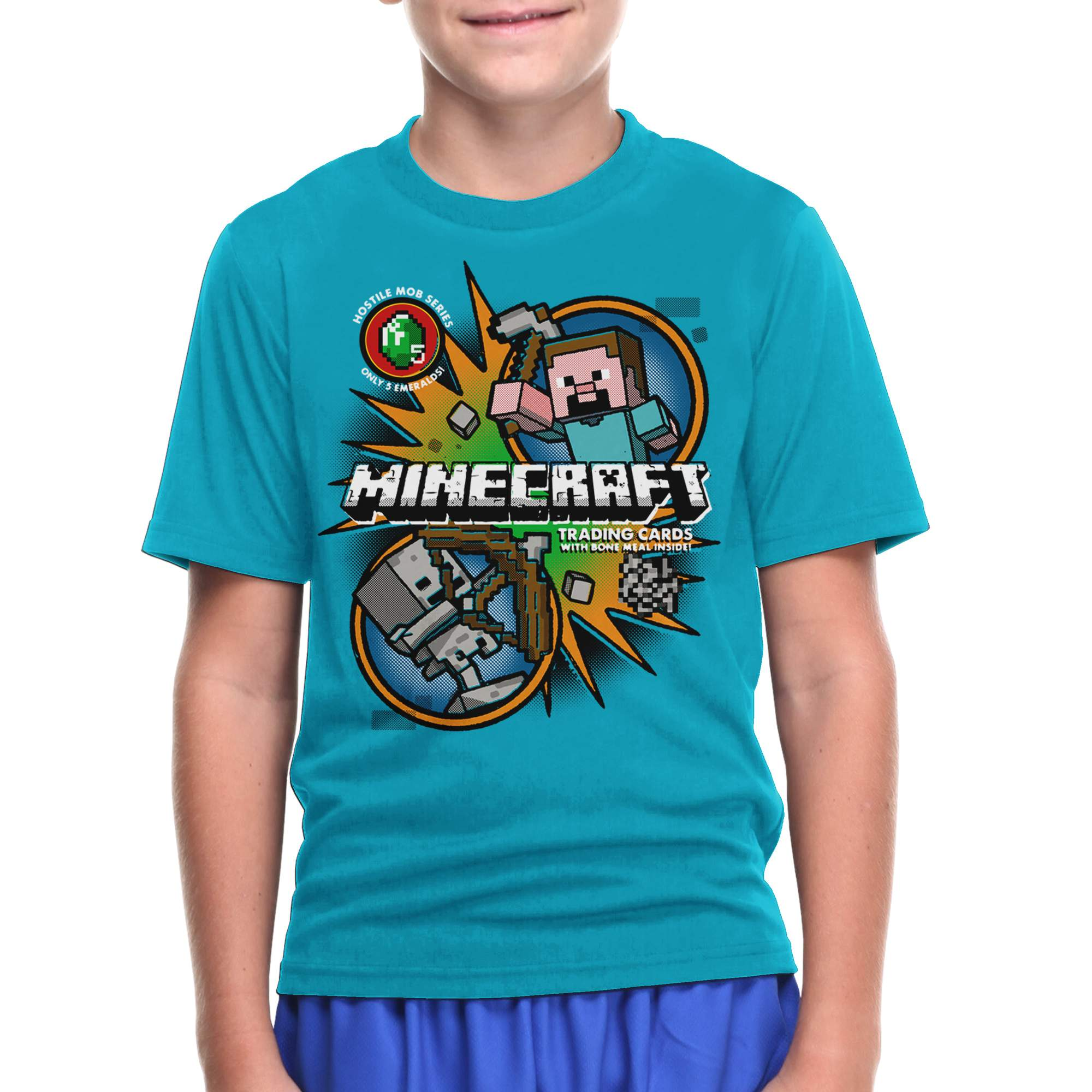 Minecraft Boys' Battle Mob Blue Short Sleeve Graphic Tee by Generic