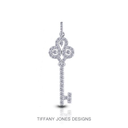 1.30ct tw H-SI2 Exc Round AGI Natural Diamonds 950 PL. Key Fashion Pendant (Tiffany Jewellery Designs)