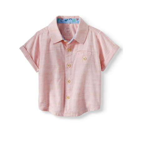 Baby Boys' Short Sleeve Woven Button Up Shirt