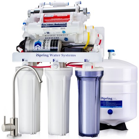 iSpring Reverse Osmosis Water Filter System w/ AK & UV Stage and Booster Pump - 100GPD WQA Gold Seal Certified 7-Stage RCC1UP-AK