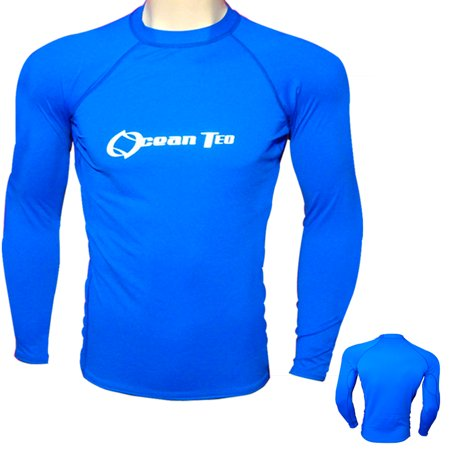 Mens Long Sleeve Rash Guard Surf Shirt Water Sport