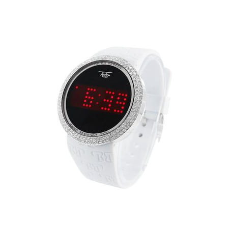 Mens White Finish Watch Touch Screen LED Water Resistant Techno Pave Steel Back