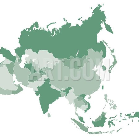 Map Of Asia To Print.Asia Vector Map Print Wall Art By Refe Walmart Com