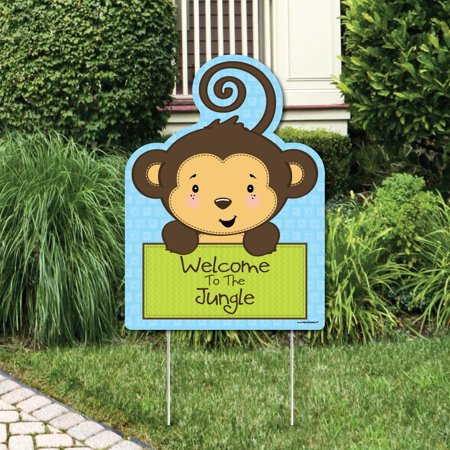 Monkey Boy - Party Decorations - Birthday Party or Baby Shower Welcome Yard Sign (Monkey Birthday)