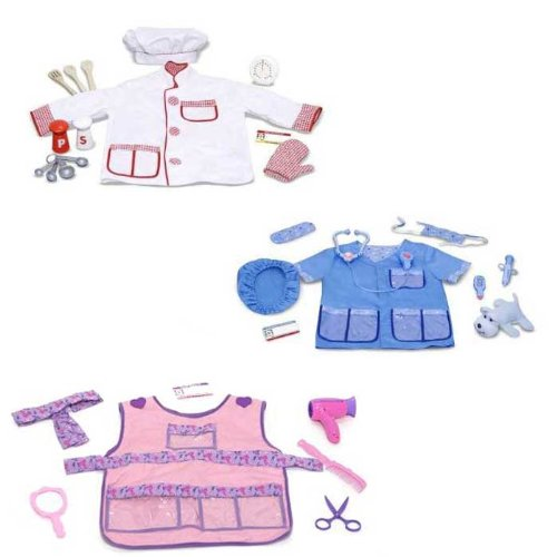 Melissa & Doug Role Play Costume Bundle: Chef, Hair Stylist, and Veterinarian