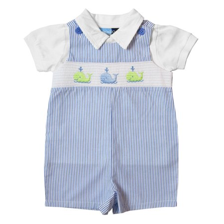 Good Lad Newborn/Infant Blue Seersucker Smocked Shortall Set with Whale Embroideries