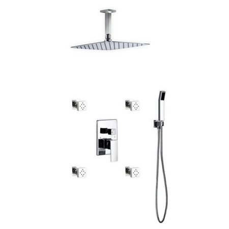 Rebrilliant Cahoon Shower System W 12 Rain 4 Body Jets And Handheld