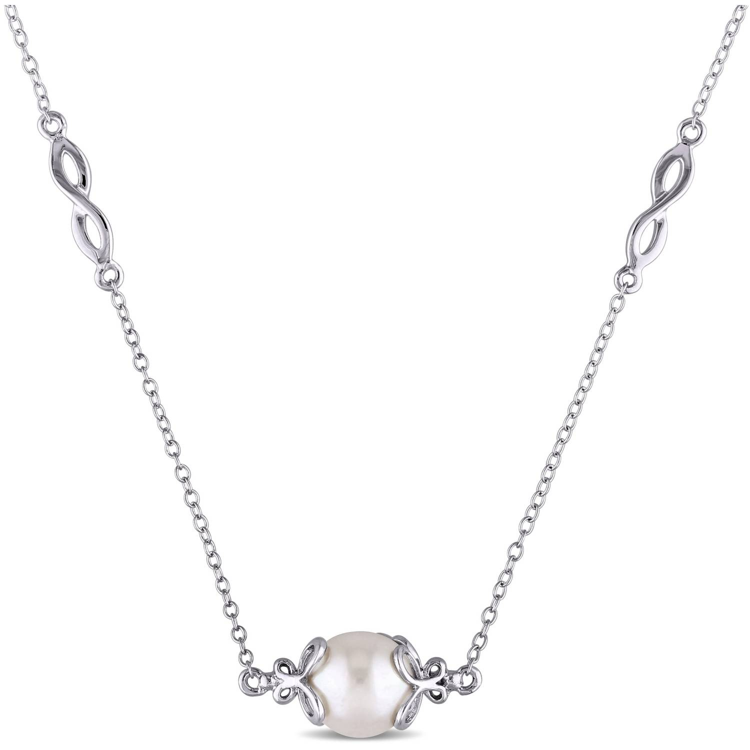 "Miabella 9-9.5mm White Cultured Freshwater Pearl Sterling Silver Infinity Tin-Cup Necklace, 36"" by Miabella"