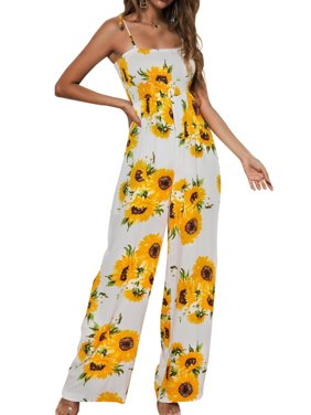 Women Sunflower Printed Beach Summer Lace Up Strappy Camisole Playsuit Party Wide Leg Long Jumpsuit Romper Trousers