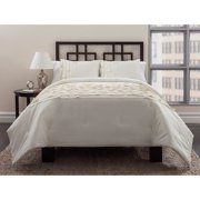 East End Living Horizontal Pleating 3-Piece Bedding Duvet Set, Ivory